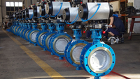 Pneumatic and manual butterfly valves DN300 with positioner