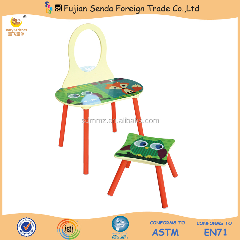 Kid Wooden Dresser Table and Stool Set with 'Red Fox' Design