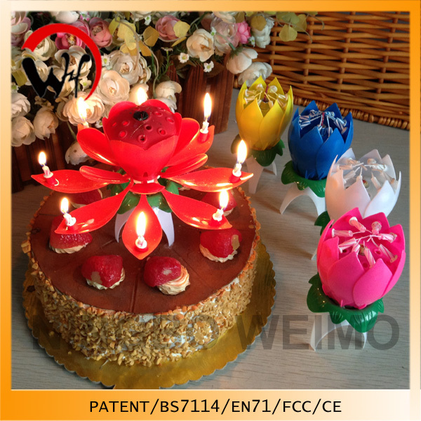 Flower musical birthday candle making lotus candle