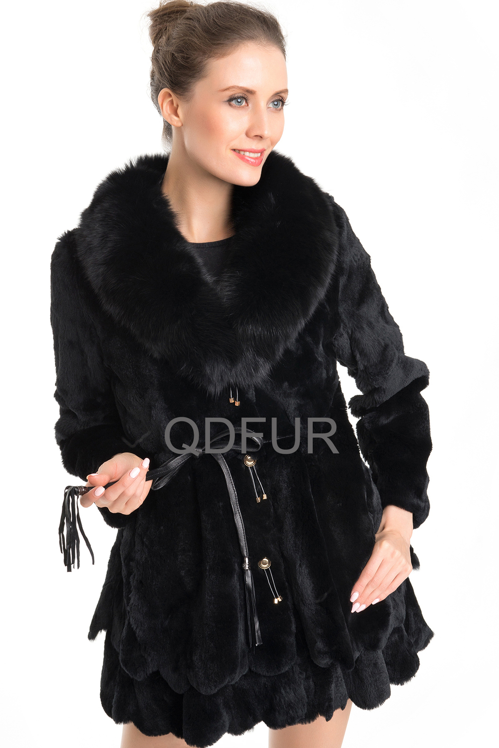 QD70715 Korean Style Women Clothing Rex Rabbit Fur Coat With Dyed Blue Fox Fur Collar