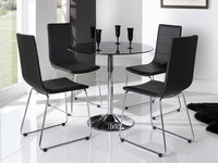 DT-2063 modern round black glass dining table and chair set