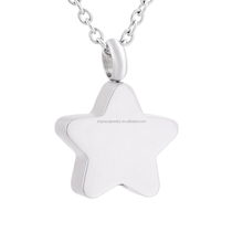 IJD9829 Newest keepsake Jewelry Wholesale 316L Stainless Steel Memorial Engravable Blank Star Cremation urn necklaces for ashes