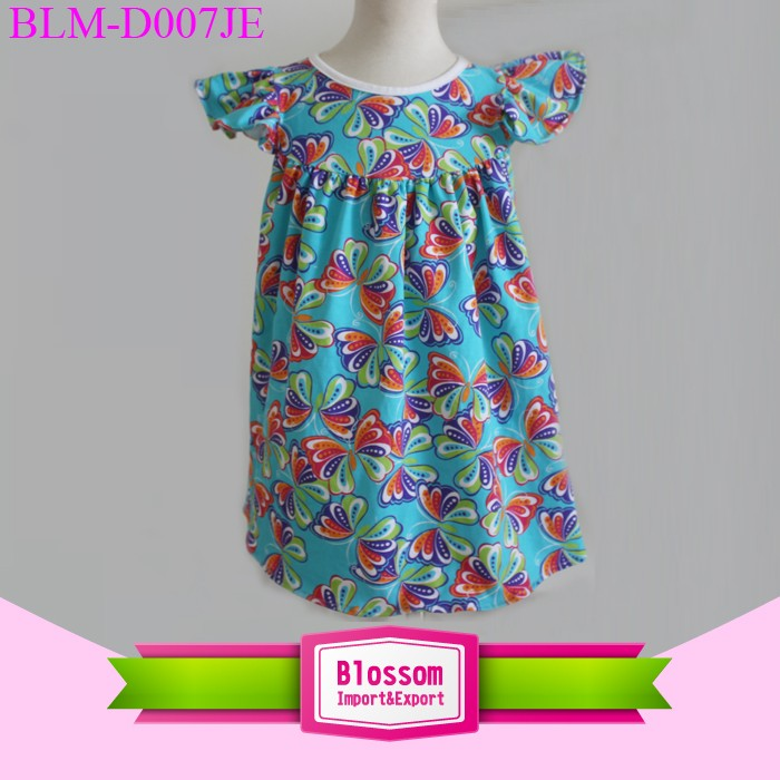 New style feather printed little girls dresses and ruffle pants outfit easter dresses for toddler girls