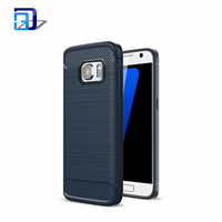 Top Selling Soft TPU Silicone Brushed Style Carbon Fiber Phone Skin Protective Back Cover Case For Samsung Galaxy S7