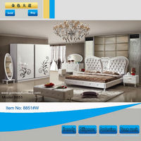 Dubai turkish furniture king size bedroom set leather bed with wardrobe