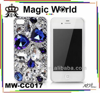 3D bule bow rhinestone custom design luxury cell phone case,crystal bling phone case