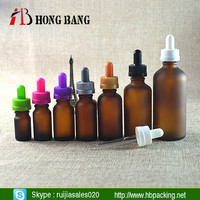 empty cosmetic amber umber frosted glass dropper Bottle manufacturer with pipette and childproof cap
