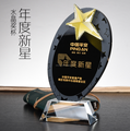 wholesale star shape glass block black crystal trophy award