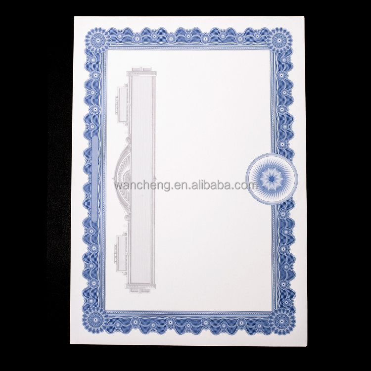 Wholesale Blue Border A4 Award,Degree,Patent,Warranty ,Quality Certificate Paper 900212