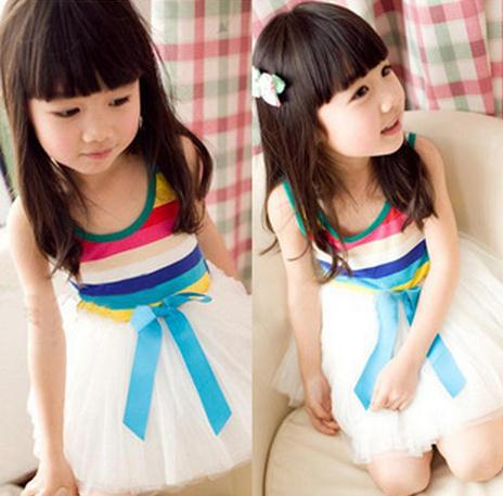 Wholesale high quality boutique litter children dress lovely rainbow stripe cute vest dress for baby girls