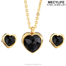 MECYLIFE High Grade Heart Black Stone Arabic Stainless Steel 24k Gold Dubai Jewelry Set