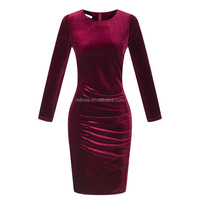 Fancy Clothes Women Spring Casual Wine Red Long Sleeve Casual Party Office Uniform Cocktail Evening Dress Velvet Suits Designs