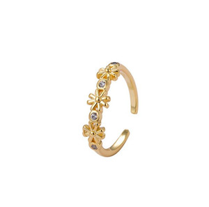 Simple gold Diamond Alloy Flower Ring