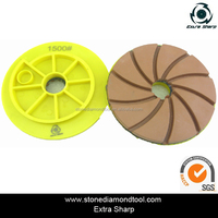Concrete edge grinding wheel with snail lock/ resin bond polishing pad