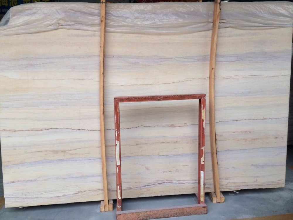 Polished light ginkgo wood grain yellow marble tile