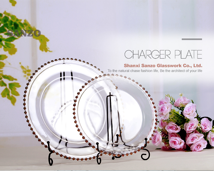 Wholesale handmade round rose gold/pink/blue/grey wedding glass charger plates