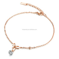 Fancy Women gold anklet designs Bowknot CZ anklet for Girls
