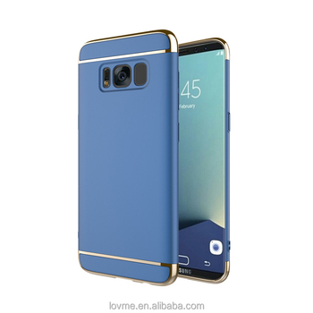 3 In 1 Luxury Electroplating Frame Matte PC Hard Phone Case For Samsung Galaxy S8