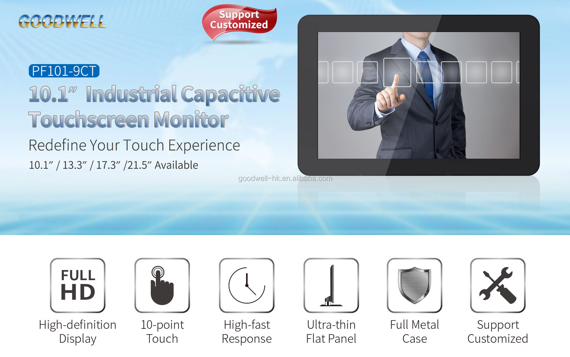 "1280x 800 IPS Panel Multi Touch 10.1"" Touch Screen USB Monitor with Metal Frame for ATM"