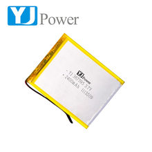 popular customized size cells battery 3.7v 2400mah 367595 2p 4800mAh rechargeable Lipo battery