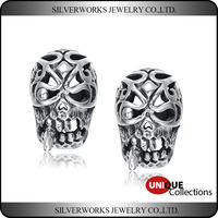Unique Cool Mens 925 Sterling Silver Fashion Jewelry Piercing Skull Stud Earring