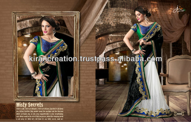 Balck N White Ethnic Party Wear Saree