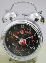 Classic metal twin bell acrylic table clock