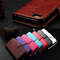 For Apple iPhone 5 Flip Wallet Leather Case