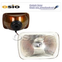 7' SQUARE headlight Red brown Iron Semi Sealed Beam 12V/24V Auto Halogen Lamp Install H4 or HID H4 Xenon Bulb