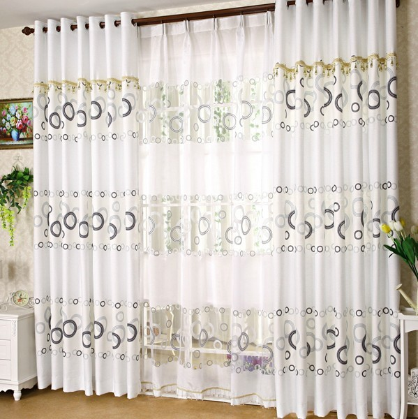 The Latest Living Room Curtain Plain White Simple Printed