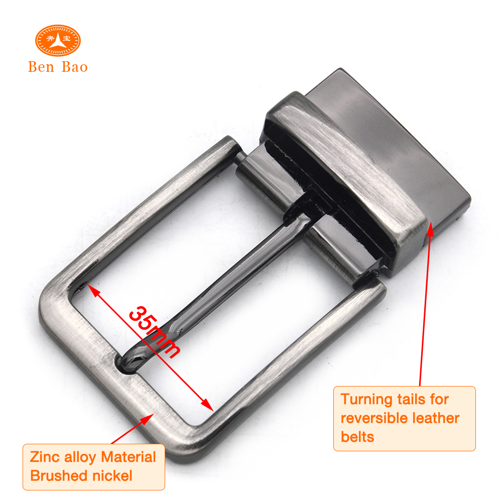 chinese supplier man nickle alloy press clip pin clamp buckles plain reversible belts