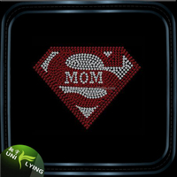 Crystal Strass Hotfix Super Mom Rhinestone Heat Transfer Iron On Applique Design For T-shirt