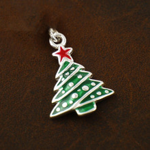 New Xmas Gifts Christmas Tree and Star Soft Enamel Metal Charm Necklace Bracelet Pendant