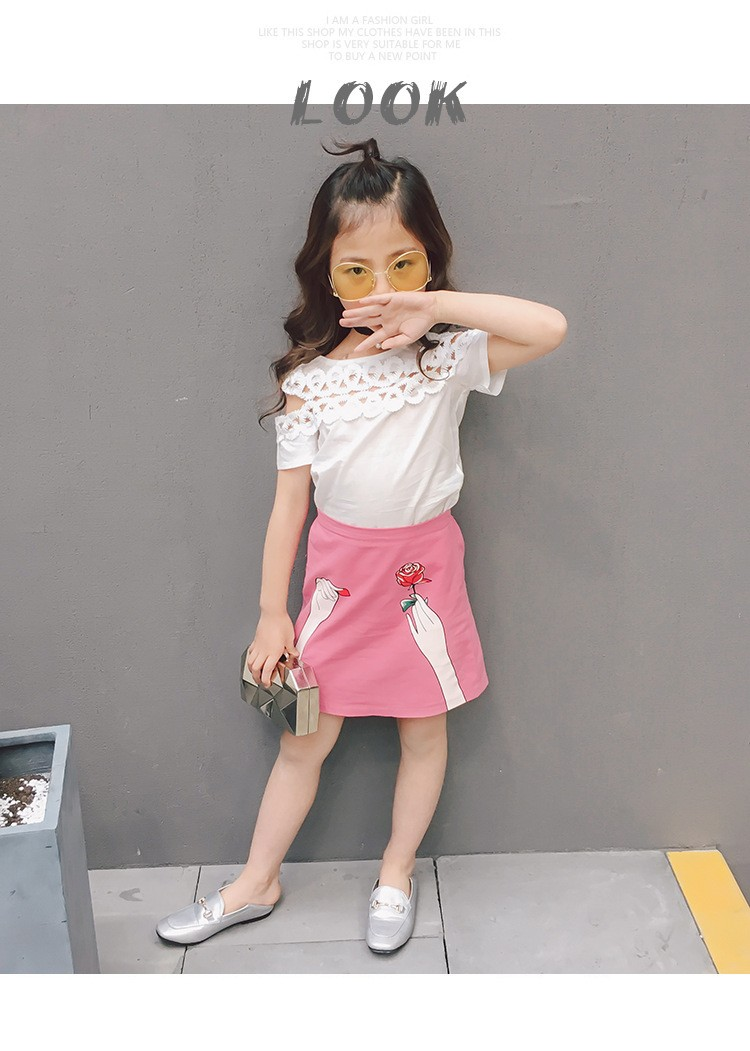2017 Korean Girls Hollow Lace Shirt +princess Dress Children Summer Laper Neck Patchwork organza Party Formal prom 2pcs