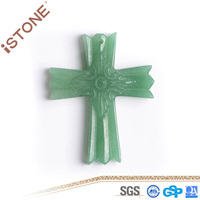 Istone New 40*50*8.2 MM Fashion Casual Unisex Aventurine Cross Pendant for Decoration & Gift