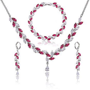 factory price bridal imitation jewelry crystal necklace earring accessories set for wedding