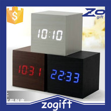 ZOGIFT Promotional LED wood alarm clock with USB charge