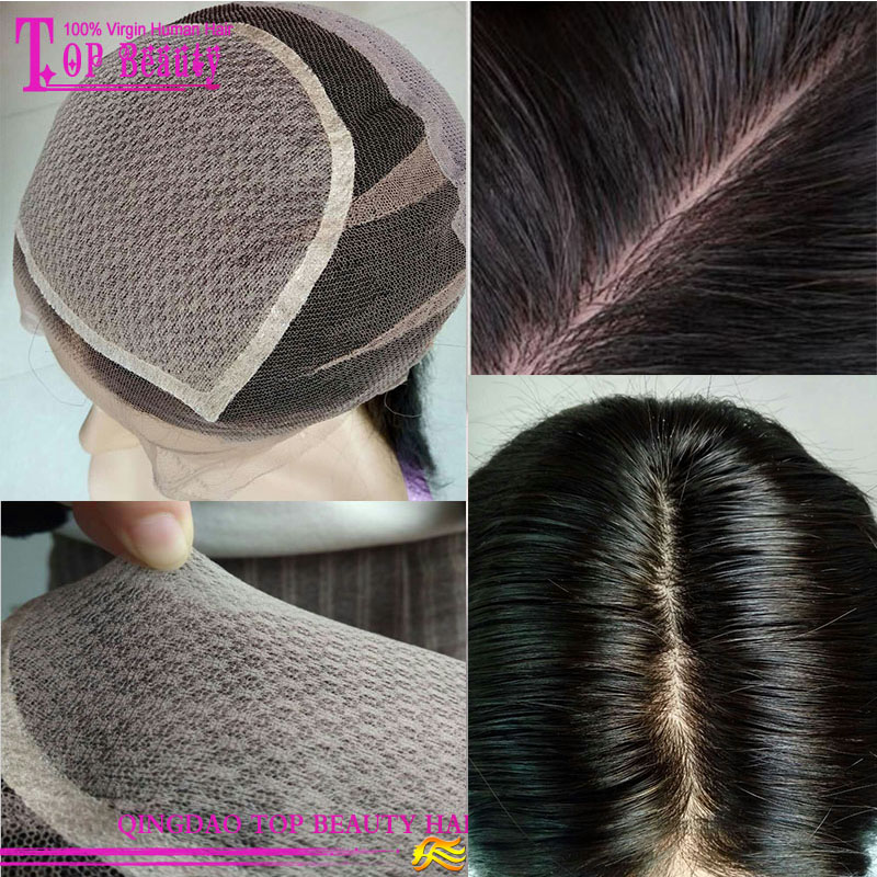 High Quality 5*5 Natural Hairline Hand Tied Glueless Silk Top Full Lace Wig For Black Women