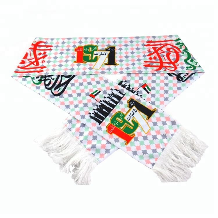 satin material printed style National Day 47 UAE <strong>scarf</strong>