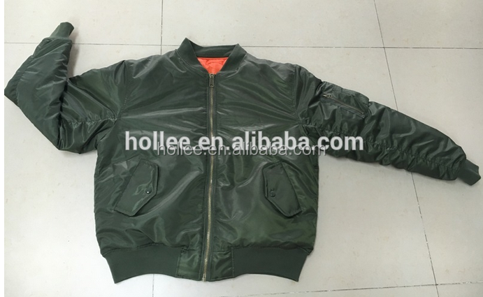 Black or Olive 100% polyester twill/PU coating Bomber Jacket for winter season