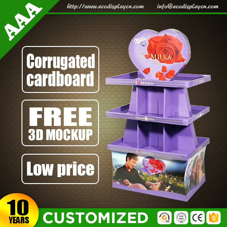 Hot Sale Corrugated Cardboard Candy Store Display Stand Rack Wholesale from China
