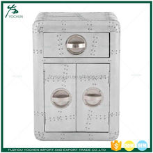 Aluminum One Drawer Two Door Side Chest