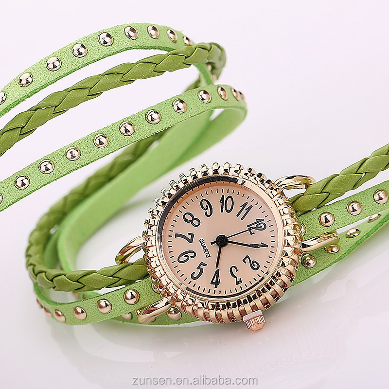 2016 High Quality Retro Long Leather Wrap Watches Rivet Leather Strap Bracelet Quartz Dial Wrist Watch
