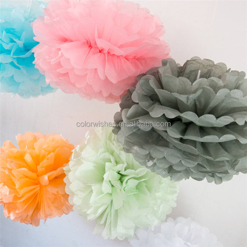 Hanging Tissue paper pompoms flowers Balls Wedding Party Decorations