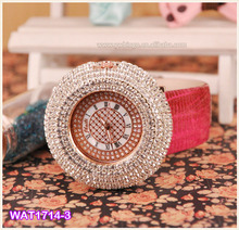 Vogue Red Leather Womens Rosegold Crystal Sport Casual Quartz Watch