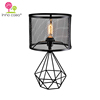 OEM/ODM Edison Bulb Metal Cylinder Lampshade 3D Geometric Base E26/E27 Design Lamp de Table Matte Black Decorate Table Lamp