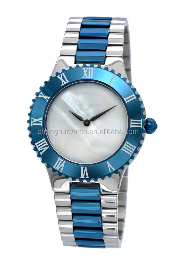 newest fashion luxury configurations top quality men watch with mother of pearl dial
