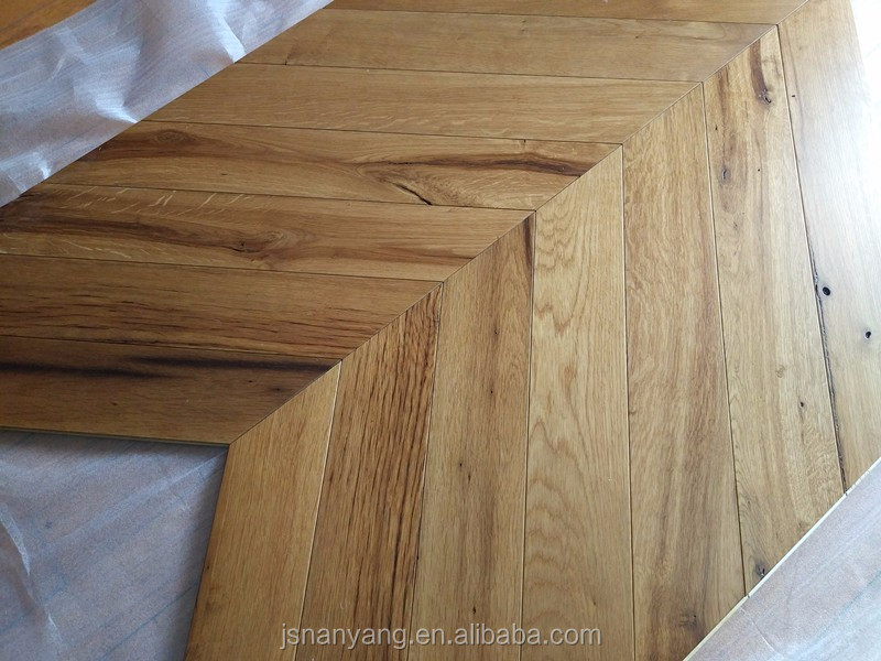 Natural viejo roble multicapa Chevron parquet