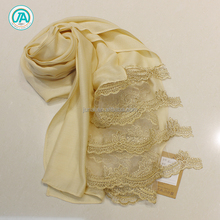 New style hijab scarf silk type long scarf with lace