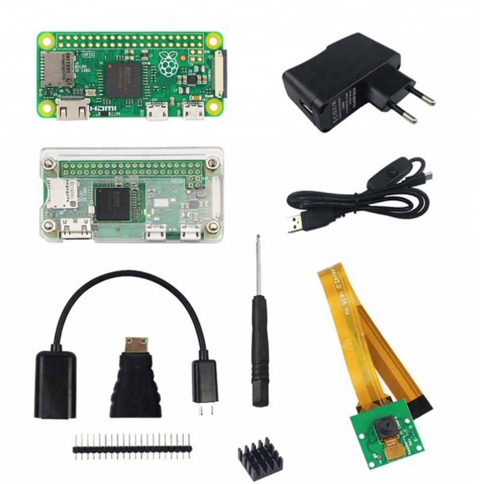 Raspberry Pi Zero <strong>W</strong> Kit +Acrylic Case +Aluminum Heat Sink+Micro OTG cable+GPIO Header+ Mini HDMI to HDMI Adapter+5MP Camera